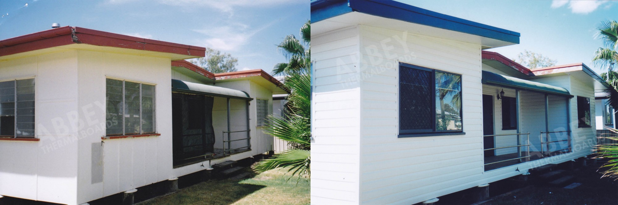 Front before and after picture of a house verandah that Abbey cladded.