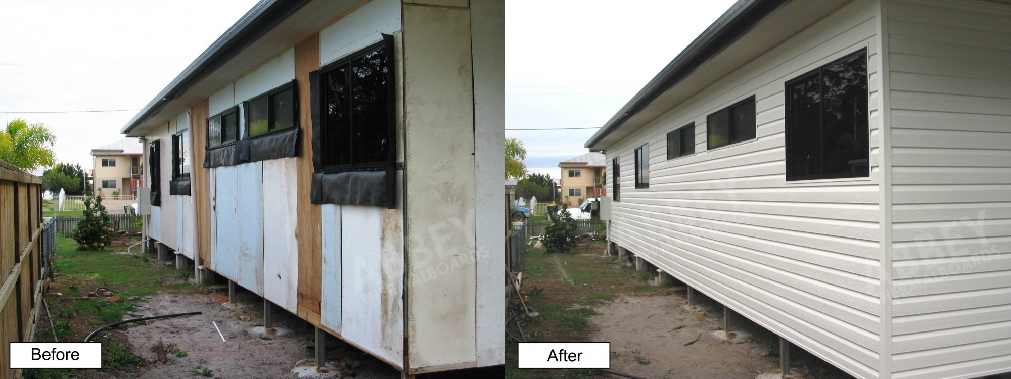 The before and after pictures of new house cladding completed.