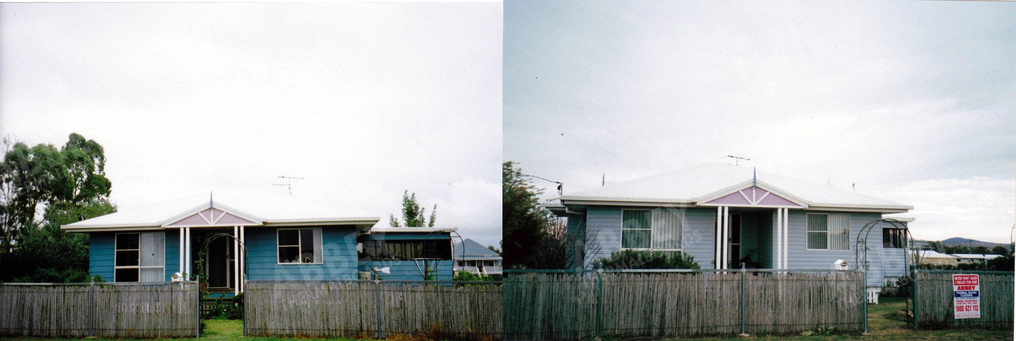 A far front shot before and after of a completed cladding job.