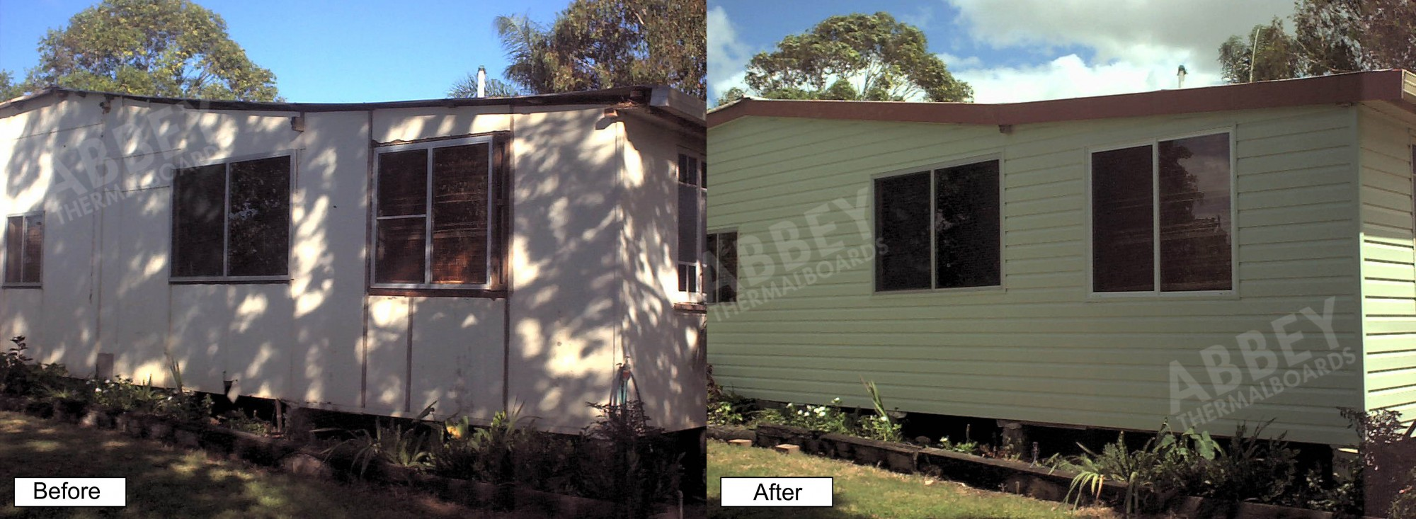 House cladding completed showing before and after.