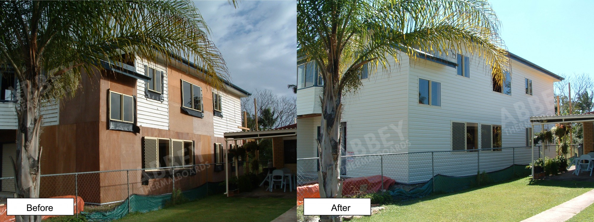2 storey cladding completed in this before and after picture of a large house.
