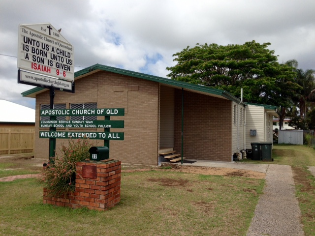 A front view of the Apostolic Church in the Rockhampton, Gladstone region.