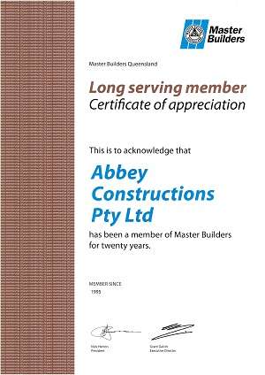 Abbey ThermalBoards Master builder 20 year member certificate in house cladding and construction..