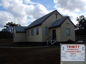 Picture of finished vinyl cladding on Trinity Evangelical Church.